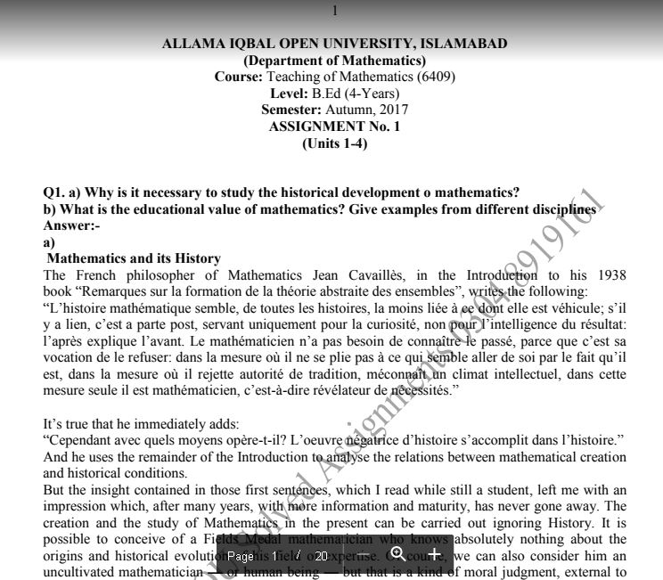 allama iqbal open university assignments solved