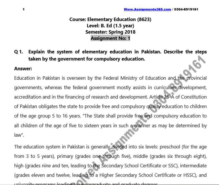 AIOU Solved Assignment B.Ed Elementary Education 8623 Spring 2018