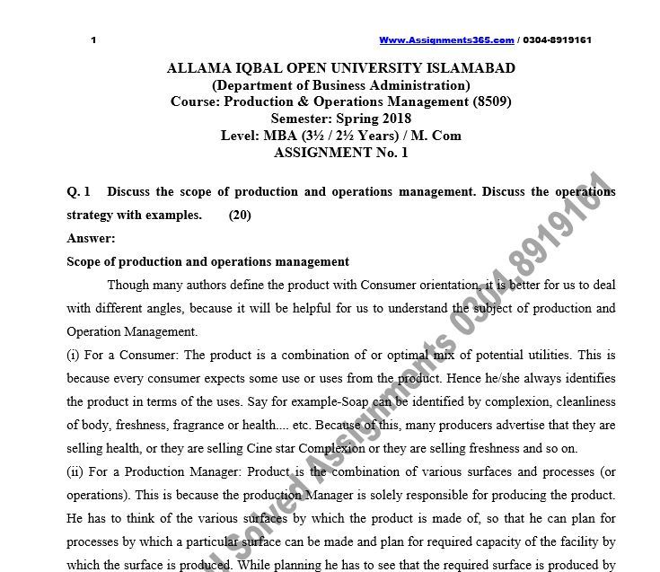 AIOU Solved Assignment MBA 8509 Production and Operations Management Spring 2018