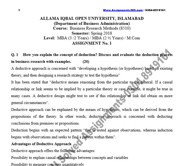 AIOU Solved Assignment MBA / M.Com 8510 Production Business Research Methods Spring 2018