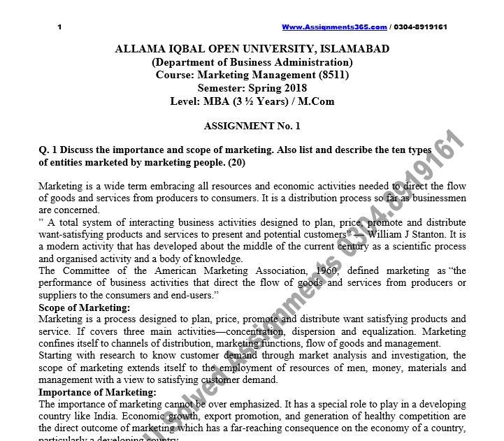 AIOU Solved Assignment MBA / M.Com 8511 Marketing Management Spring 2018